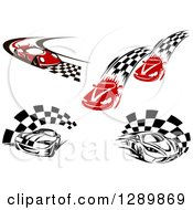 Clipart Of Red And Black And White Race Cars And Checkered Trails Or Flags Royalty Free Vector Illustration by Seamartini Graphics
