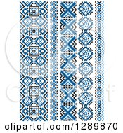 Clipart Of A Blue Black And White Vertical Native American Styled Borders Royalty Free Vector Illustration by Vector Tradition SM