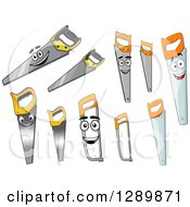 Clipart Of Happy Saw Characters And Versions Without Faces Royalty Free Vector Illustration