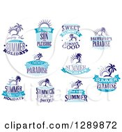 Clipart Of Blue Summer Designs 2 Royalty Free Vector Illustration