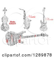 Clipart Of Word Collage And Music Note Instruments Royalty Free Vector Illustration
