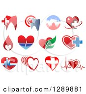 Clipart Of Dental And Heart Health Designs Royalty Free Vector Illustration