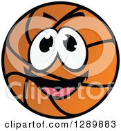 Clipart Of A Happy Excited Basketball Character Royalty Free Vector Illustration
