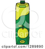Clipart Of A Green Apple Juice Carton Royalty Free Vector Illustration