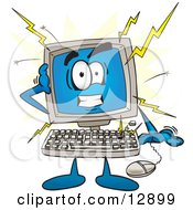 Clipart Picture Of A Desktop Computer Mascot Cartoon Character Crashing
