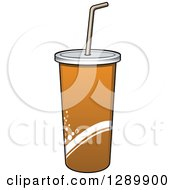 Clipart Of A Brown And Orange Fountain Soda Cup Royalty Free Vector Illustration