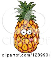 Clipart Of A Goofy Pineapple Character Sticing Its Tongue Out Royalty Free Vector Illustration