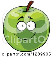 Clipart Of A Happy Smiling Green Apple Cartoon Character Royalty Free Vector Illustration