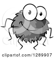 Clipart Of A Cartoon Happy Grayscale Spider Royalty Free Vector Illustration by Vector Tradition SM