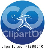 Clipart Of A White Athlete Playing Ping Pong In A Round Blue Icon Royalty Free Vector Illustration by Vector Tradition SM