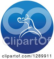 Clipart Of A White Athlete Boxer In A Round Blue Icon Royalty Free Vector Illustration