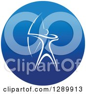Clipart Of A White Athlete Archer In A Round Blue Icon Royalty Free Vector Illustration
