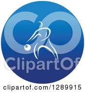 Clipart Of A White Athlete Playing Basketball In A Round Blue Icon Royalty Free Vector Illustration
