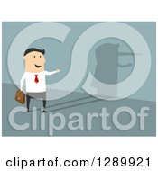 Clipart Of A Flat Modern Design Styled Lying White Businessman Reflecting A Pinocchio Nose Shadow Over Blue Royalty Free Vector Illustration