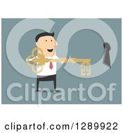 Clipart Of A Flat Modern Design Styled White Businessman Holding The Key To Success By A Hole Over Blue Royalty Free Vector Illustration