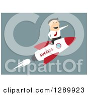 Clipart Of A Flat Modern Design Styled White Businessman Riding A Success Rocket Over Blue Royalty Free Vector Illustration