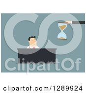 Clipart Of A Flat Modern Design Styled White Businessman Trying To Meet At Deadline Over Blue Royalty Free Vector Illustration