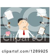 Clipart Of A Flat Modern Design Styled Overwhelmed White Businessman With Needy Hands Over Blue Royalty Free Vector Illustration