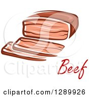 Clipart Of A Beef Brisket And Text Royalty Free Vector Illustration