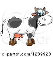 Clipart Of A Cute Cartoon Blue Eyed Dairy Cow Royalty Free Vector Illustration by Vector Tradition SM