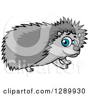 Clipart Of A Cute Blue Eyed Gray Hedgehog Royalty Free Vector Illustration by Vector Tradition SM
