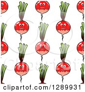 Clipart Of A Background Pattern Of Seamless Happy Radishes On White Royalty Free Vector Illustration