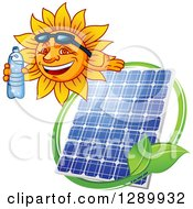 Clipart Of A Happy Sun Holding A Bottled Water And Presenting Over A Solar Panel And Leaves Royalty Free Vector Illustration