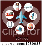 Clipart Of A Blue Airplane And Airport Items Over Service Text On Maroon Royalty Free Vector Illustration by Vector Tradition SM