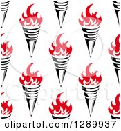 Clipart Of A Seamless Background Pattern Of Red And Black Torches Royalty Free Vector Illustration