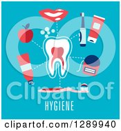Clipart Of A Tooth With Hygiene Items And Text On Blue Royalty Free Vector Illustration