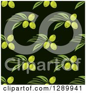 Clipart Of A Background Pattern Of Seamless Green Olives And Branches On Black Royalty Free Vector Illustration