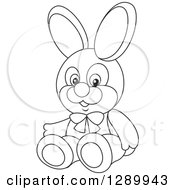 Clipart Of A Black And White Stuffed Rabbit Toy Royalty Free Vector Illustration