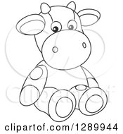 Clipart Of A Black And White Cute Stuffed Cow Toy Royalty Free Vector Illustration by Alex Bannykh