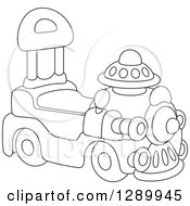 Clipart Of A Black And White Ride On Toy Train Royalty Free Vector Illustration