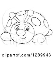 Clipart Of A Black And White Cute Ladybug Toy Royalty Free Vector Illustration