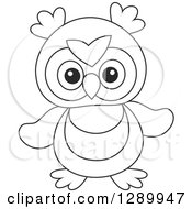 Clipart Of A Black And White Cute Owl Toy Royalty Free Vector Illustration by Alex Bannykh