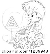 Clipart Of A Black And White Boy Playing And Riding A Toy Train Royalty Free Vector Illustration