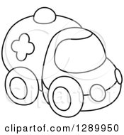 Clipart Of A Black And White Toy Ambulance Royalty Free Vector Illustration