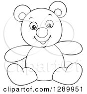 Clipart Of A Black And White Stuffed Teddy Bear Toy Royalty Free Vector Illustration by Alex Bannykh