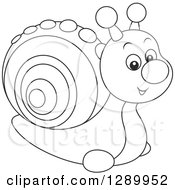 Clipart Of A Cute Black And White Toy Snail Royalty Free Vector Illustration