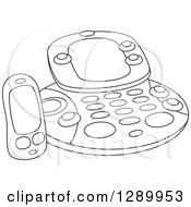 Clipart Of A Black And White Childs Fax Machine Toy Royalty Free Vector Illustration