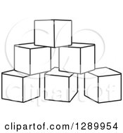 Clipart Of A Pyramid Of Black And White Toy Blocks Royalty Free Vector Illustration