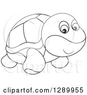 Clipart Of A Black And White Cute Turtle Toy Royalty Free Vector Illustration