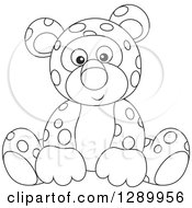 Clipart Of A Black And White Cute Leopard Stuffed Animal Toy Royalty Free Vector Illustration
