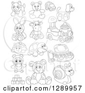 Clipart Of Black And White Childrens Toys Royalty Free Vector Illustration by Alex Bannykh