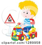 Clipart Of A Blond White Boy Playing And Riding A Toy Train Royalty Free Vector Illustration