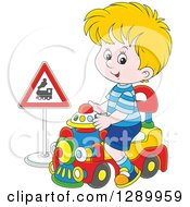 Blond Caucasian Boy Playing And Riding A Toy Train