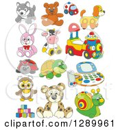 Clipart Of Cartoon Childrens Toys Royalty Free Vector Illustration by Alex Bannykh