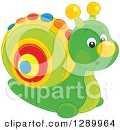 Clipart Of A Cute Green Snail Toy With A Colorful Shell Royalty Free Vector Illustration