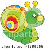 Clipart Of A Cute Green Toy Snail With A Colorful Shell Royalty Free Vector Illustration